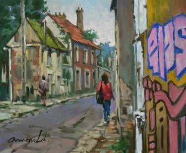 Rue de la friche (Huile sur bois 46 x 38)