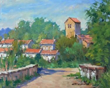 Petit pont à Pulnoy (huile sur bois 46 x 38)