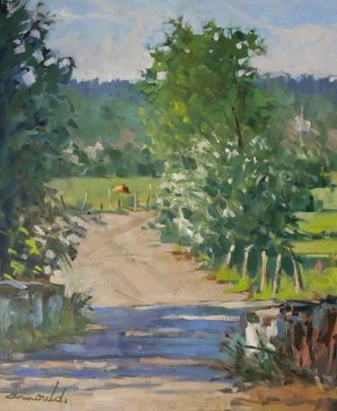 Le même petit pont à Tonnoy (huile sur toile 55 x 46)