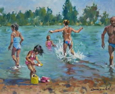 Famille à la plage (huiles sur bois 46 x 38)