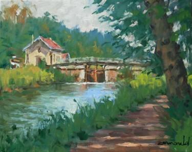L'écluse de Flavigny (huile sur toile 41 x 33)