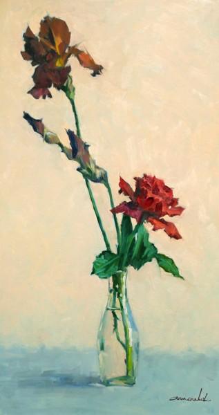 Iris et rose du jardin (huile sur carton 80 x 44)