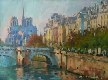 """Paris """"Notre Dame"""" (huile sur papier 35 x 27)"""