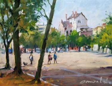 Place Carnot à Nancy 1 (huile sur papier 32 x 25)