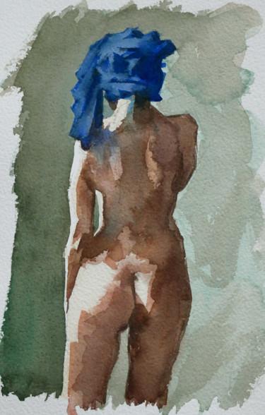 Jeune femme à la serviette bleue