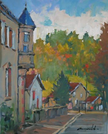 Village de Saint Quirin (huile sur papier 46 x 38)