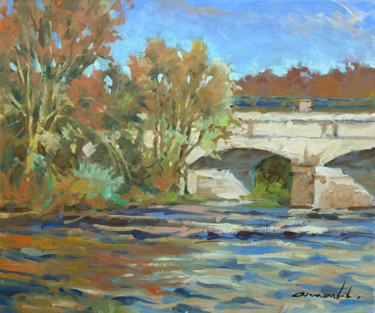 Le pont canal à Flavigny (huile sur toile 55 x 46)