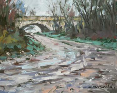 Chemin gorgé d'eau vers l'ancien pont à Flavigny