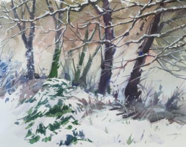 Bord de Moselle sous la neige (Aquarelle 38 x 28)