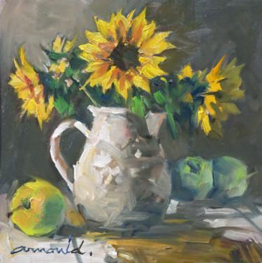 Pommes et Tournesols (huile sur papier 30 x 30)