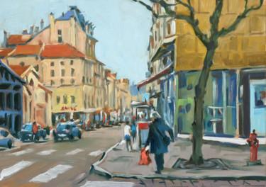 Rue Saint Dizier à Nancy (huile sur papier 41 x 33)