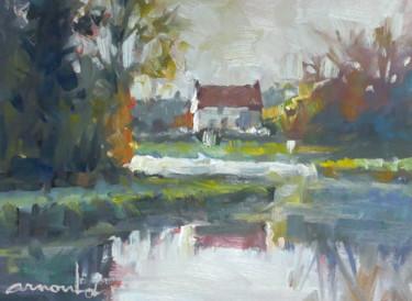 Maison au bord du lac (huile sur papier 22 x 30)