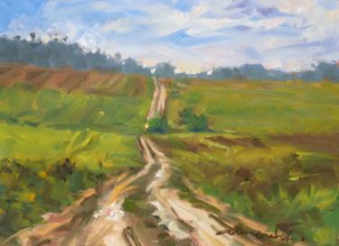 A travers champs (huile sur papier 26 x 34)