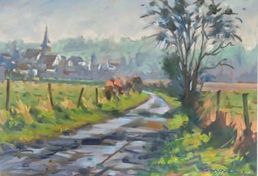 Village embrumé (huile sur papier 40 x 28)