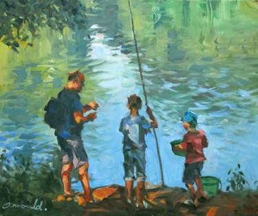 Les gars sont à la pêche (huile sur carton 46 x 38)