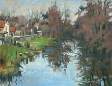 Sur le pont de Richardménil (huile sur toile 41 x 33)