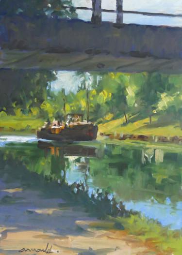 La péniche sous le pont (huile sur papier 42 x 29,7)
