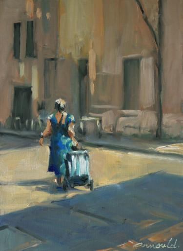La dame au caddie (huile sur papier 24 x 33)