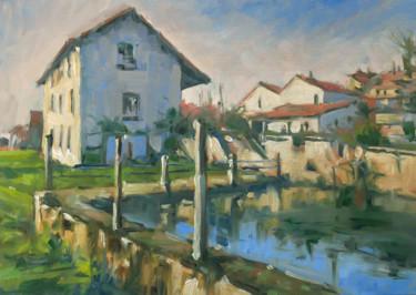 Le bassin à Richardménil (huile sur papier 42 x 29,7)