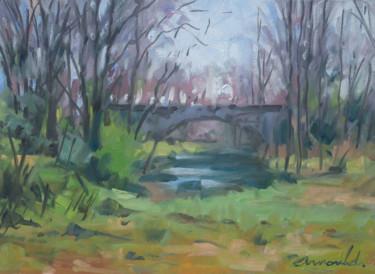 Petit pont au loin (huile sur papier 24 x 33)