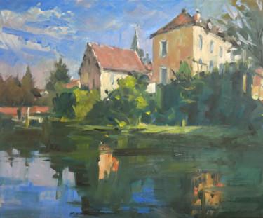 Reflets des maisons (huile sur toile 46 x 38)