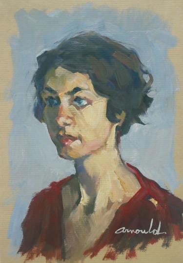 Portrait de jeune femme (huile sur Kraft 21 x 29,7)
