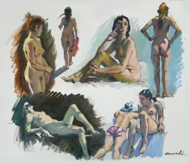 7 nus sur une toile blanche (huile 100 x 80)