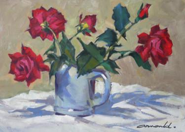 Voici des roses rouges (huile sur papier 42 x 29,7)