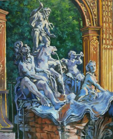La fontaine de Neptune Nancy (huile sur toile 100 x 80)