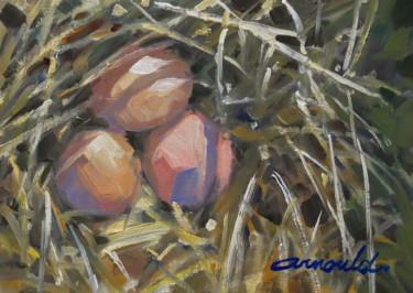 Trois œufs dans le nid (huile sur papier 30 x 21)