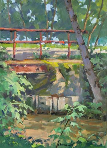 Petit pont à Flavigny (huile sur papier 42 x 29,7)
