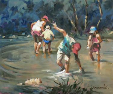 Enfants jouant dans l'eau (huile sur papier apprêté 46 x 38)
