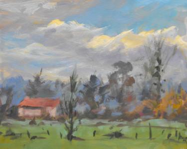 En face de chez moi - Pochade  - huile sur carton ( 27 x 32)