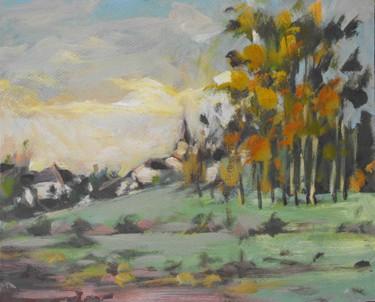 Glonville au loin  - Pochade  - huile sur carton ( 27 x 32)