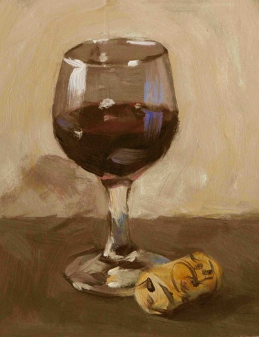 Verre de vin (huile sur carton 18 x14)
