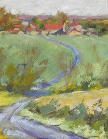 Ferme de Mervaville 2-  Pochade Huile sur papier (18x14)