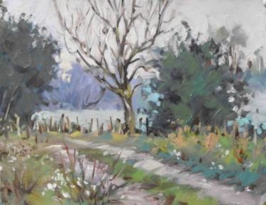 Arrivé à l'étang de Glonville - huile sur papier (25 x 32)