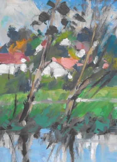 Magnières -  pochade- huile sur papier 22 x 16