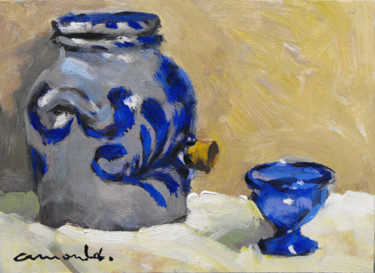 Pochade Pot en grès (huile sur carton 22 x 16)