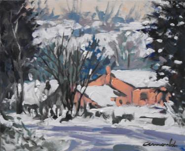 Neige à Badménil (huile sur carton 27 x 22)