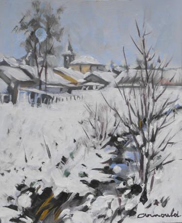 Glonville sous la neige (huile sur carton 27 x 22)