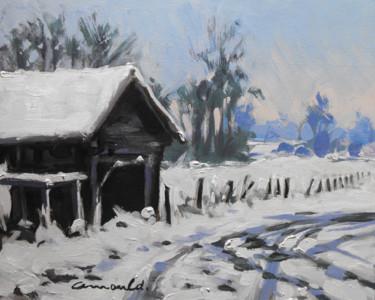 Cabane à Glonville (huile sur carton 27 x 22)