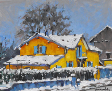 La maison jaune à Raon l'étape (huile sur carton 27 x 22)