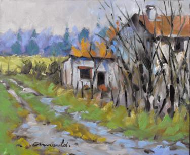 Vieille ferme à Mesnil Flin (huile sur carton 27 x 22)