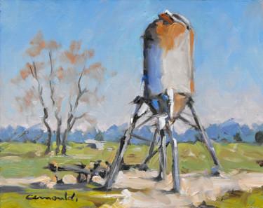 Pochade silo sur le parking (huile sur carton 24 x 19)