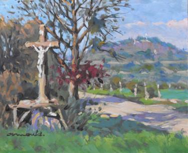 Colline de Sion par Praye-  (huile sur carton 27 x 22)