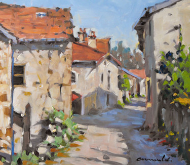 Vieilles rues à Vaudémont (huile sur papier 32 x 28)