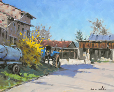 Rue du Paquis dans mon village (huile sur toile 46 x 38)