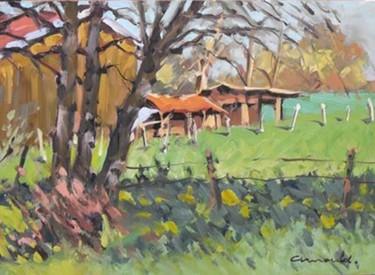 Cabanes à Ménarmont (huile sur carton 33 x 24)