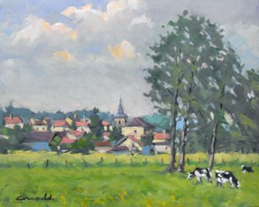 Glonville au loin (huile sur carton 41 x 33)